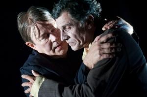 """Theatre. Repetition du """"Rhinoceros"""", piece de Eugene Ionesco, dans une production du Theatre de la Ville, a New York"""